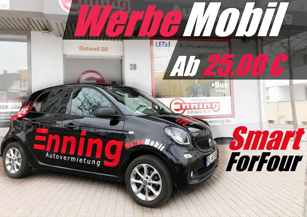 Smart ForFour Werbemobil Dorsten Autovermietung Enning